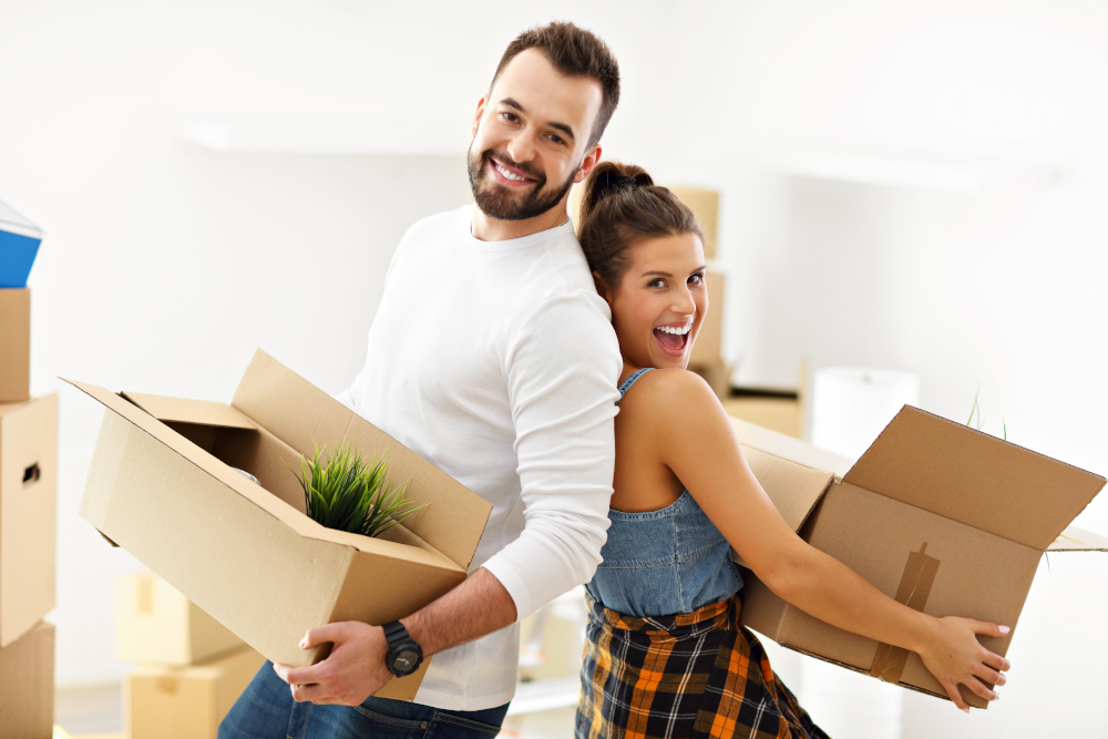 Picture,Showing,Happy,Adult,Couple,Moving,Out,Or,In,To